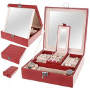 Casket Jewelry Organizer Watches Box L Burgundy 88