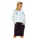 Großhandel Pullover & Sweatshirts: 140-1 Bluse mit Krawatte vorne - WEISS mit Libelle