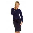 wholesale Shirts & Blouses: 140-4 Blouse with a tie at the front - NAVY BLUE