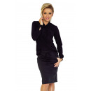 wholesale Shirts & Blouses: 140-5 Blouse with a tie at the front - BLACK