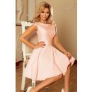hurtownia Fashion & Moda: 157-7 Sukienka MARTA z koronką - BRZOSKWINIA