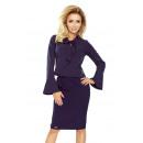Großhandel Hemden & Blusen: 181-3 Bluse mit ausgestelltem Ärmel - NAVY BLUE