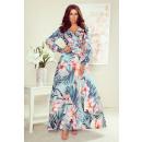 Großhandel Kleider: 245-2 MAXI-Kleid mit Rüschen und Ausschnitt - PINK