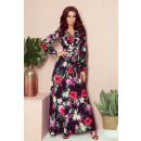 Großhandel Kleider: 245-3 MAXI Kleid mit Rüschen und Ausschnitt - ROT