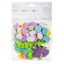 Schuim, lijm, tulpen, vlinders, 92 stuks /