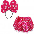wholesale Skirts: SET Mouse Skirt and Headband Pink Dots Ears Roc