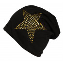 wholesale Headgear: Beanie Hat Studded Star Black Gold Onesize