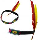 """Opaska do włosów z piórami hippie """"Indian Band"""" Fa"""