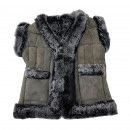 Children's Vest Natural Fur Leather Patchwork