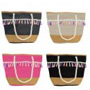 Großhandel Handtaschen: Aktionssortiment: 10 Strandtaschen Anker mit Bast