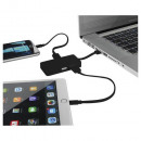 USB Hub with Dual Cables - black