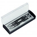 Ball pen and mechanical pencil metal black with si