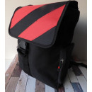 wholesale Backpacks: Black backpack  with red logo and zippers