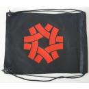 Rucksack Vlies  schwarz mit Druck rot