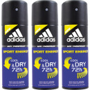 Adidas 3x 150ml  déodorant  vaporisateur Sport ...