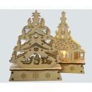 LED Holz Kirche oder Tannenbaum