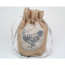 Jute with rooster motif, 2 ply