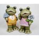 Großhandel Figuren & Skulpturen: Frosch XL  14x8,5x7cm, 2-fach sortiert