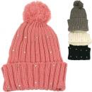 Winter Strickmütze  Damen mit Strasssteinen