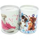 wholesale Kitchen Utensils: Moneybox round  metal puppy sort 10x7,5cm. Motive