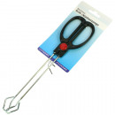 Grill tongs metal with plastic handle