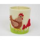 Kaarsen / Candle glas met vilten doek zak,