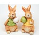 Großhandel Dekoration: Hase mit Ei und  Fellstruktur 11x6x 5cm, 2fach