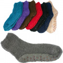 wholesale Fashion & Mode: Socks  Kuschelsocken Uni ABS sorted,
