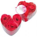 Fleur Savon Rose Lot de 3, 8x4cm