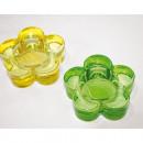 Kaarsen glazen houder in bloemvorm 7,5x2,5cm,