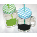 wholesale Drinking Glasses: Glass jug with checkered metal lid