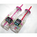 wholesale Kitchen Utensils: Glass bottle with  flowers Design 19x7x6cm