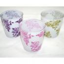 groothandel Glazen: Glas wit met roze  motief, 3  verschillende ...