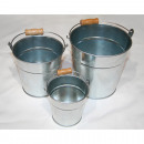 wholesale Home & Living: Metal pail  galvanized in 3 sizes sorted