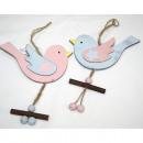 Bird hanging wooden 12x7,5cm