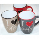 grossiste Tasses & Mugs: Café tasse 340ml, 10,5x8cm 3x, assorti