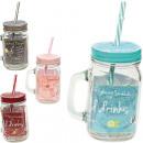 wholesale Drinking Glasses: Glass jar with  metal lid u. Straw 450ml