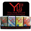 wholesale Erotic-Accessories: Condoms YL4F  Premium, 12er Box, 4 times sort.