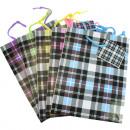 Gift bag Karo 23x18x10cm 5 colors assorted