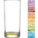 wholesale Drinking Glasses: Sorted glass  highball 0.25l colored bottom