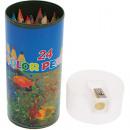 grossiste Cadeaux et papeterie: 24er crayons dans  une boîte avec aiguiseur