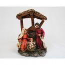 Sacra Famiglia con Schelter in legno sguardo 11x8x