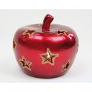 Großhandel Windlichter & Laternen: Apfel LUXUS XL  10x9cm mit Glitter verziert, aus fe