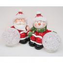 Santa und Schneemann mit Licht-kugel LED 10x9x6cm,