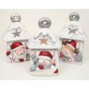 Lantern XL 14x8x7cm Kerstman, elanden en sneeuwman