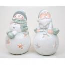 Kerstman of sneeuwpop op wind-licht-ball 14x8cm,