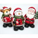 Windlicht XL Babbo Natale, alce o pupazzo di neve