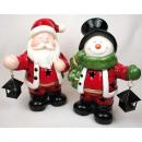 Kerstman en sneeuwpop XXL 22x17x11cm met LED warm
