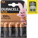 groothandel Batterijen & accu's: Batterij Duracell Plus Alkaline AA 4p