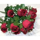 Großhandel Kunstblumen: Rosenstrauß LUXUS  mit 12 Köpfen 50x25cm